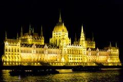 被阐明的Hungarien议会 免版税库存照片