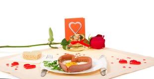 被限制的日重点例证s二华伦泰向量 浪漫晚餐 免版税图库摄影