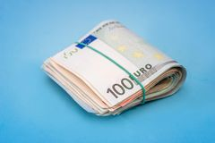 100被隔绝的一百欧元钞票 库存照片