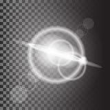被隔绝的传染媒介不可思议的白色光芒焕发光线影响对透明背景 向量例证