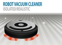 被隔绝的传染媒介机器人吸尘器的现实3D例证 聪明的清洁工艺 Сlean室 向量例证