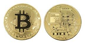 被隔绝的位硬币标志金黄金属 库存图片