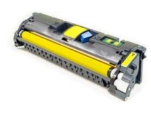 被隔绝的使用的激光打印机调色剂的黄色颜色 免版税库存照片
