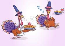 被隔绝的动画片套两只火鸡 供应膳食的传染媒介火鸡 向量例证