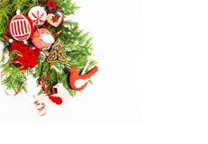 被隔绝的圣诞节装饰,明信片的g白色背景 免版税库存照片