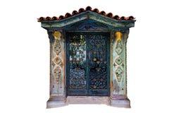 被隔绝的地道门,木物质门 中世纪门设计 免版税库存图片