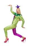 被隔绝的妇女佩带的小丑服装 库存照片