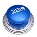 2019被隔绝的新年蓝色按钮 免版税图库摄影