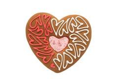 被隔绝的曲奇饼心脏 免版税库存图片