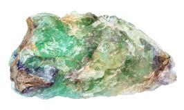 被隔绝的未加工的绿色绿玉宝石 库存照片