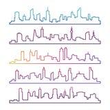 被隔绝的概述都市传染媒介都市风景集合 五颜六色的地平线城市分界线剪影 向量例证