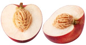被隔绝的油桃 在与裁减路线的白色背景隔绝的两个油桃切片 免版税图库摄影