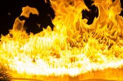 被隔绝的灼烧的火焰或火在黑背景 免版税库存图片
