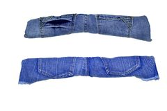 被隔绝的特别标志和标志标示用不同的颜色牛仔裤  库存照片