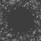 被隔绝的现实下跌的圣诞装饰雪花作用对透明背景 落的雪样式 魔术 向量例证