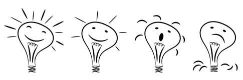 被隔绝的电灯泡想法概念概略字符 库存照片