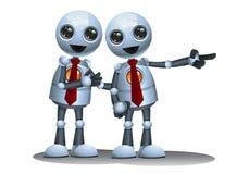 被隔绝的白色背景的小机器人商务伙伴 皇族释放例证