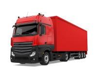 被隔绝的红色容器卡车 免版税图库摄影