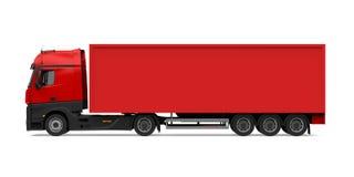 被隔绝的红色容器卡车 免版税库存照片