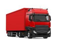 被隔绝的红色容器卡车 免版税库存图片