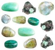 被隔绝的绿色绿玉宝石的汇集 库存照片