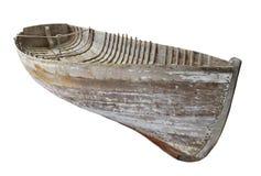 被隔绝的老木小船船身 免版税库存照片