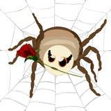 被隔绝的贴纸蜘蛛–与玫瑰的网 向量例证