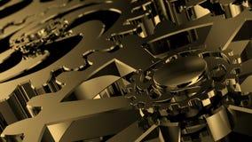 被隔绝的转动的金黄齿轮 金属的运动在一个机械设备适应 向量例证