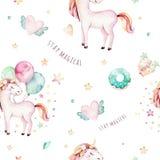 被隔绝的逗人喜爱的水彩独角兽样式 托儿所彩虹独角兽水彩画 公主unicornscollection 时髦粉红色 皇族释放例证