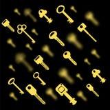 被隔绝的金属钥匙 黄色回纹饰 库存照片
