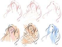 被隔绝的风格化艺术性的妇女面孔 库存图片