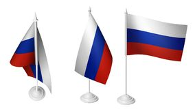 被隔绝的3个小书桌俄罗斯沙文主义情绪的3d现实俄国书桌旗子 皇族释放例证