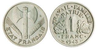 被隔绝的一法郎硬币 图库摄影