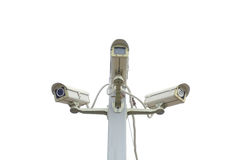 被隔绝的三台照相机CCTV 免版税库存照片