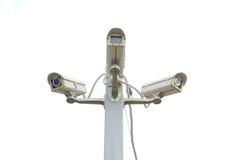被隔绝的三台照相机CCTV 免版税库存图片