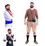 被隔绝的三张图片拼贴画:特写镜头画象微笑 免版税库存照片