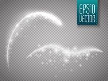 被隔绝的不可思议的发光的火花漩涡足迹作用对透明背景 向量例证