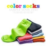 被隔绝的不同的颜色袜子 库存图片
