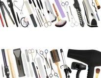 被隔绝的专业美容院和理发店设备 库存图片