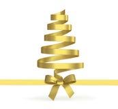 从被隔绝的丝带的圣诞树 免版税库存照片