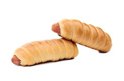 被隔绝的两个香肠小圆面包 库存图片