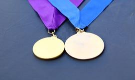 被隔绝的两枚奖奖牌 免版税库存图片