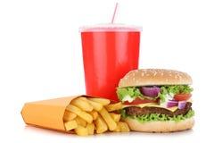 被隔绝的乳酪汉堡汉堡包和油炸物菜单膳食组合饮料 免版税库存照片