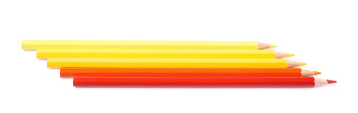 被隔绝的五支颜色铅笔线  库存照片