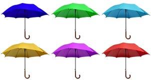 被隔绝的五颜六色的伞 免版税库存图片