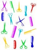 被隔绝的五颜六色的剪刀和梳子 库存图片