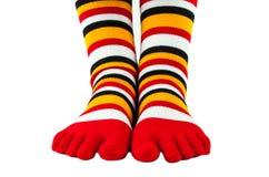被隔绝的五颜六色的镶边袜子 免版税库存照片