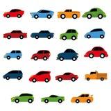 被隔绝的传染媒介套不同的五颜六色的汽车 向量例证
