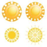 被隔绝的传染媒介套不同的抽象太阳 库存例证
