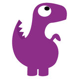 被隔绝的传染媒介逗人喜爱的动画片紫色恐龙 库存例证